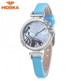 image of HOSKA H802S CHILDREN QUARTZ WATCH 3ATM LUMINOUS RHINESTONE DIAL SLENDER LEATHER BAND WRISTWATCH (BLUE) 0