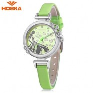 image of HOSKA H802S CHILDREN QUARTZ WATCH 3ATM LUMINOUS RHINESTONE DIAL SLENDER LEATHER BAND WRISTWATCH (GREEN) 0