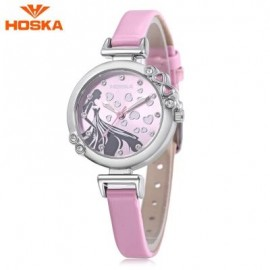 image of HOSKA H802S CHILDREN QUARTZ WATCH 3ATM LUMINOUS RHINESTONE DIAL SLENDER LEATHER BAND WRISTWATCH (PINK) 0