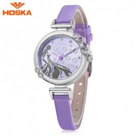 image of HOSKA H802S CHILDREN QUARTZ WATCH 3ATM LUMINOUS RHINESTONE DIAL SLENDER LEATHER BAND WRISTWATCH (PURPLE) 0