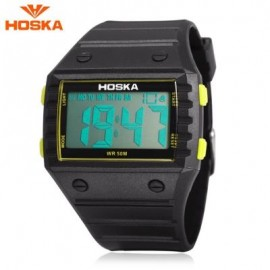 image of HOSKA H033B CHILDREN DIGITAL WATCH ALARM CHRONOGRAPH DAY LED DISPLAY RECTANGLE DIAL 5ATM WRISTWATCH (YELLOW AND BLACK) 0