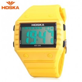 image of HOSKA H033B CHILDREN DIGITAL WATCH ALARM CHRONOGRAPH DAY LED DISPLAY RECTANGLE DIAL 5ATM WRISTWATCH (YELLOW) 0
