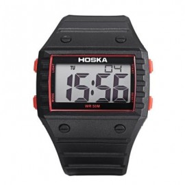 image of HOSKA H033B CHILDREN DIGITAL WATCH ALARM CHRONOGRAPH DAY LED DISPLAY RECTANGLE DIAL 5ATM WRISTWATCH (RED WITH BLACK) 0