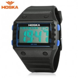 image of HOSKA H033B CHILDREN DIGITAL WATCH ALARM CHRONOGRAPH DAY LED DISPLAY RECTANGLE DIAL 5ATM WRISTWATCH (BLUE AND BLACK) 0