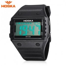 image of HOSKA H033B CHILDREN DIGITAL WATCH ALARM CHRONOGRAPH DAY LED DISPLAY RECTANGLE DIAL 5ATM WRISTWATCH (BLACK) 0