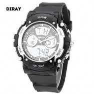 image of DIRAY DR - 330AD CHILDREN DUAL MOVT SPORTS WATCH DATE DAY DISPLAY BACKLIGHT STOPWATCH ALARM 3ATM WRISTWATCH (SILVER) 0