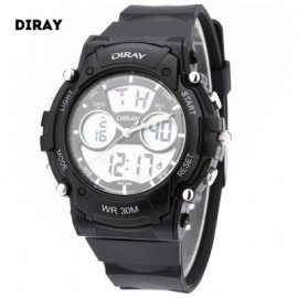 image of DIRAY DR - 330AD CHILDREN DUAL MOVT SPORTS WATCH DATE DAY DISPLAY BACKLIGHT STOPWATCH ALARM 3ATM WRISTWATCH (BLACK) 0