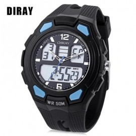 image of DIRAY DR - 302AD KIDS DUAL MOVT WATCH DATE DAY DISPLAY BACKLIGHT STOPWATCH ALARM 5ATM WRISTWATCH (LAKE BLUE) 0