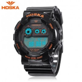 image of HOSKA H017B CHILDREN DIGITAL WATCH ALARM CHRONOGRAPH LED CALENDAR 3ATM SILICONE BAND WRISTWATCH (BLACK AND ORANGE) 0