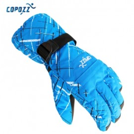 image of COPOZZ UNISEX SUPER WARM PROTECTION WATER RESISTANT SKI GLOVES FOR OUTDOOR ACTIVITY (LAKE BLUE) XL