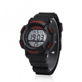 image of HOSKA H007S DIGITAL CHILDREN SPORT WATCH CHRONOGRAPH CALENDAR ALARM BACKLIGHT 5ATM LED WRISTWATCH (RED WITH BLACK) 0