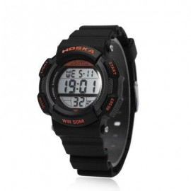 image of HOSKA H007S DIGITAL CHILDREN SPORT WATCH CHRONOGRAPH CALENDAR ALARM BACKLIGHT 5ATM LED WRISTWATCH (BLACK AND ORANGE) 0