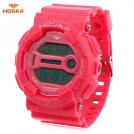 image of HOSKA H015B DIGITAL CHILDREN SPORT WATCH 3ATM STOPWATCH ALARM DATE DAY LED WRISTWATCH (PINK) 0