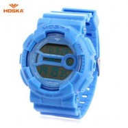 image of HOSKA H015B DIGITAL CHILDREN SPORT WATCH 3ATM STOPWATCH ALARM DATE DAY LED WRISTWATCH (BLUE) 0