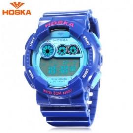 image of HOSKA H017B CHILDREN DIGITAL WATCH ALARM CHRONOGRAPH LED CALENDAR 3ATM SILICONE BAND WRISTWATCH (SAPPHIRE BLUE) 0