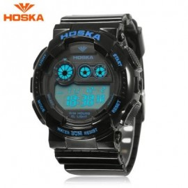 image of HOSKA H017B CHILDREN DIGITAL WATCH ALARM CHRONOGRAPH LED CALENDAR 3ATM SILICONE BAND WRISTWATCH (BLUE AND BLACK) 0