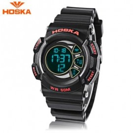 image of HOSKA H020B CHILDREN LED DIGITAL WATCH 5ATM DAY DATE DISPLAY WRISTWATCH (RED WITH BLACK) 0