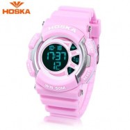 image of HOSKA H020B CHILDREN LED DIGITAL WATCH 5ATM DAY DATE DISPLAY WRISTWATCH (PINK) 0