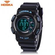 image of HOSKA H020B CHILDREN LED DIGITAL WATCH 5ATM DAY DATE DISPLAY WRISTWATCH (BLUE AND BLACK) 0