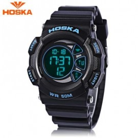 image of HOSKA H020B CHILDREN LED DIGITAL WATCH 5ATM DAY DATE DISPLAY WRISTWATCH (BLUE AND BLACK) 0