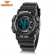 image of HOSKA H020B CHILDREN LED DIGITAL WATCH 5ATM DAY DATE DISPLAY WRISTWATCH (BLACK) 0