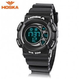 image of HOSKA H020B CHILDREN LED DIGITAL WATCH 5ATM DAY DATE DISPLAY WRISTWATCH (BLACK) 0