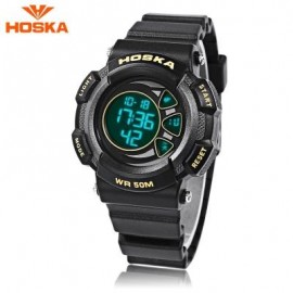 image of HOSKA H020S CHILDREN LED DIGITAL WATCH 5ATM DAY DATE DISPLAY WRISTWATCH (YELLOW AND BLACK) 0