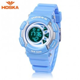 image of HOSKA H020S CHILDREN LED DIGITAL WATCH 5ATM DAY DATE DISPLAY WRISTWATCH (BLUE) 0