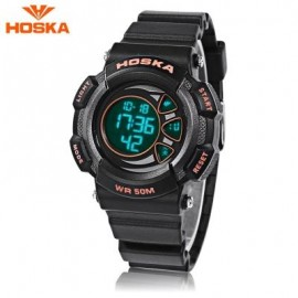 image of HOSKA H020S CHILDREN LED DIGITAL WATCH 5ATM DAY DATE DISPLAY WRISTWATCH (BLACK AND ORANGE) 0