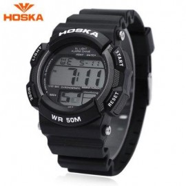 image of HOSKA H007B DIGITAL CHILDREN SPORT WATCH 5ATM CHRONOGRAPH CALENDAR ALARM BACKLIGHT WRISTWATCH (SILVER AND BLACK) 0