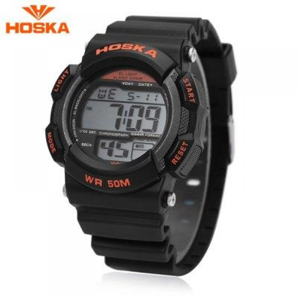 HOSKA H007B DIGITAL CHILDREN SPORT WATCH 5ATM CHRONOGRAPH CALENDAR ALARM BACKLIGHT WRISTWATCH (BLACK AND ORANGE) 0