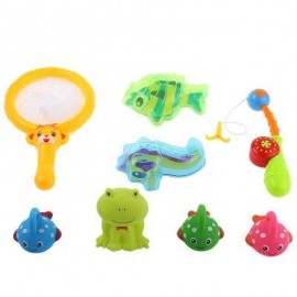 image of BABY FLOATING PADDLE FISHING GAME BATH TUB TOY (COLORMIX) FROG
