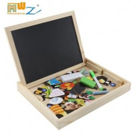 image of MUWANZI WOODEN MAGNETIC DRAWING BOARD PUZZLE (FARM TAILS) -