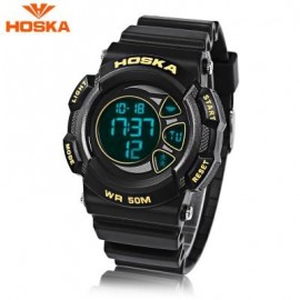 image of HOSKA H020B CHILDREN LED DIGITAL WATCH 5ATM DAY DATE DISPLAY WRISTWATCH (YELLOW AND BLACK) 0