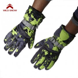 image of WILD SNOW PAIRED OUTDOOR WARM WINDPROOF SKIING GLOVES (NEON GREEN) XL