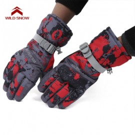 image of WILD SNOW PAIRED OUTDOOR WARM WINDPROOF SKIING GLOVES (DEEP RED) XL