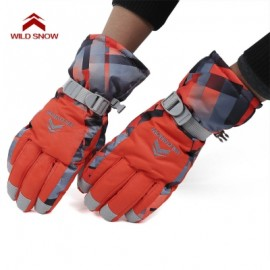 image of WILD SNOW PAIRED OUTDOOR WARM WINDPROOF SKIING GLOVES (RED) XL