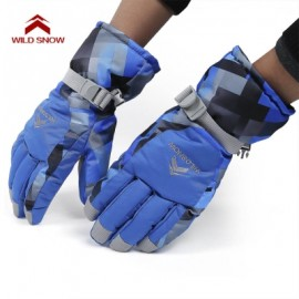 image of WILD SNOW PAIRED OUTDOOR WARM WINDPROOF SKIING GLOVES (BLUE) XL