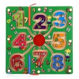 image of WOODEN NUMBER MAGNETIC PEN LABYRINTH PUZZLE TOY FOR KIDS (COLORMIX) -