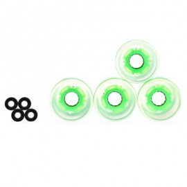 image of 4PCS 60 X 45MM LED TRANSPARENT SKATEBOARD WHEELS (GREEN) -