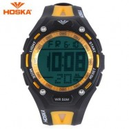 image of HOSKA H010B CHILDREN SPORT WATCH STOPWATCH ALARM BACKLIGHT WEEK DISPLAY 50M WATER RESISTANCE LED WRISTWATCH (YELLOW AND BLACK) 0