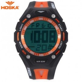 image of HOSKA H010B CHILDREN SPORT WATCH STOPWATCH ALARM BACKLIGHT WEEK DISPLAY 50M WATER RESISTANCE LED WRISTWATCH (BLACK AND ORANGE) 0