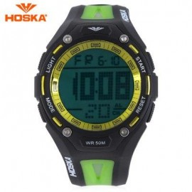 image of HOSKA H010B CHILDREN SPORT WATCH STOPWATCH ALARM BACKLIGHT WEEK DISPLAY 50M WATER RESISTANCE LED WRISTWATCH (BLACK AND GREEN) 0