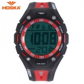 image of HOSKA H010B CHILDREN SPORT WATCH STOPWATCH ALARM BACKLIGHT WEEK DISPLAY 50M WATER RESISTANCE LED WRISTWATCH (RED WITH BLACK) 0