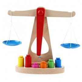 image of SCALE LIBRA PENDULUM EARLY LEARNING WOODEN TOY FOR CHILDREN LEARN BALANCE KNOWLEDGE (COLORMIX) -