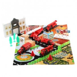 image of XIONGFENGDA ALLOY 1:72 SCALE FIRE DEPARTMENT SET FOR KIDS (RED) -