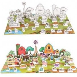 image of 3D DRAWING PUZZLE FARM BUILDING BLOCKS EDUCATIONAL TOY (COLORFUL) -