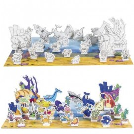 image of 3D PUZZLE SEA ANIMALS DRAWING TOY SET FOR CHILDREN (COLORFUL) -