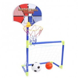 image of ANJANLE KIDS PORTABLE 2 IN 1 FOOTBALL BASKETBALL SET INDOOR OUTDOOR SPORT TOY DEVELOPMENTAL GAME (COLORMIX) -