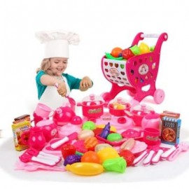 image of HOUSE SEVENTY-THREE PIECE KITCHEN CUTLERY TOY+SHOPPING CART (COLORMIX) 0